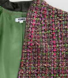 Sacou din bucle multicolor cu fir verde