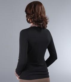 Camasa din jerse elastic negru cu garnitura