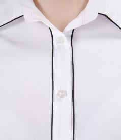 Camasa din jerse elastic alb cu garnitura