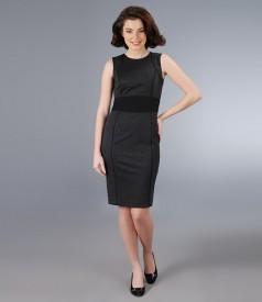 Rochie din stofa elastica gri cu cordon negru