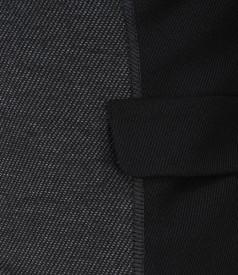 Sacou din stofa elastica neagra cu insertie gri
