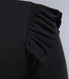 Tricou din jerse elastic uni cu aripioare