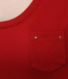 Tricou din jerse elastic uni cu mansete