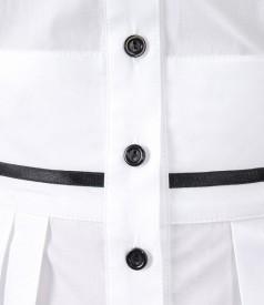 Camasa din bumbac cu mansete si garnitura contrast