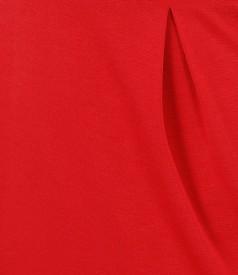 Rochie din jerse elastic rosu cu garnitura contrast