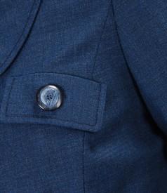 Sacou office albastru cu lana virgina