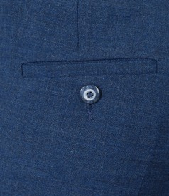Pantaloni office albastri cu lana virgina