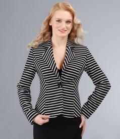 Sacou din jerse elastic alb-negru