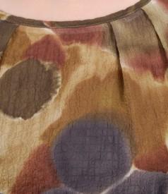 Rochie din voal imprimat cu aripioare si falduri la decolteu