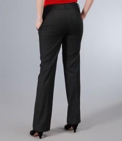 Pantaloni din bumbac elastic gri