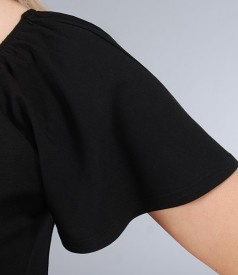 Tricou din jerse elastic uni cu maneci cazute