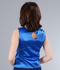 Bluza din saten elastic albastru