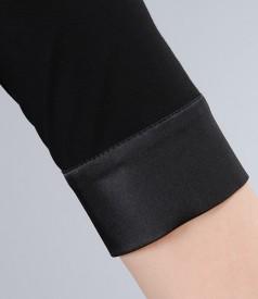 Camasa din jerse uni cu garnitura saten elastic