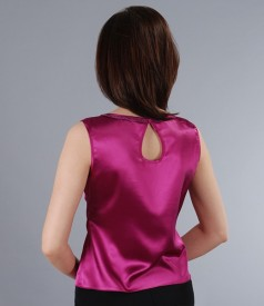 Bluza din saten elastic cu garnitura