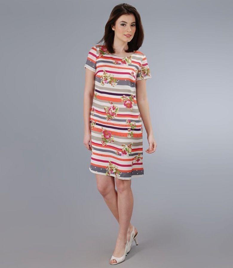 Rochie imprimata cu maneci scurte
