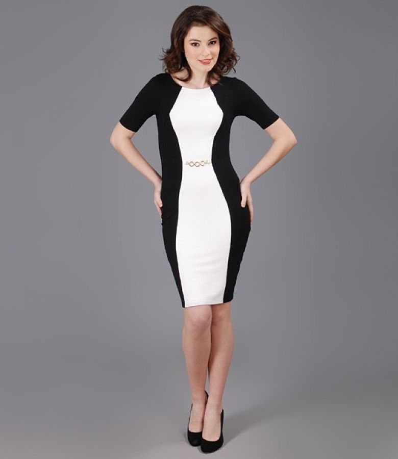 Rochie din jerse elastic cu insertie alb-ecru si accesoriu