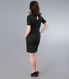 Rochie din jerse elastic cu insertie gri si accesoriu