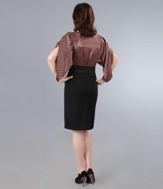 Rochie din saten si jerse elastic cu maneci fluture