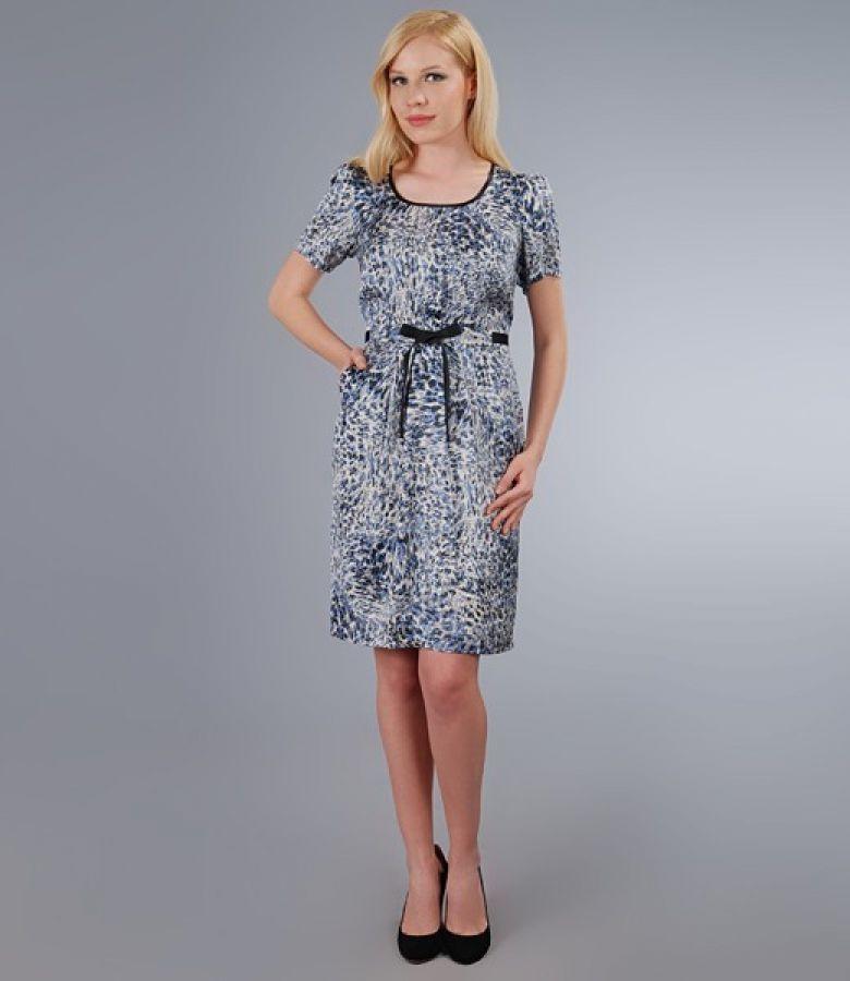 Rochie din saten imprimat cu buzunare si cordon