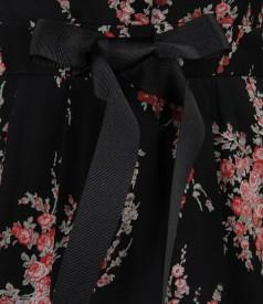 Rochie din voal imprimat cu buzunare si cordon