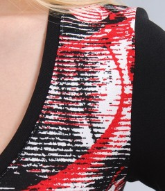Rochie din jerse elastic cu garnitura si cordon