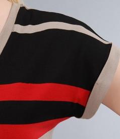 Tricou din jerse elastic imprimat cu mansete