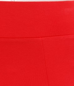 Fusta in clini din jerse elastic rosu