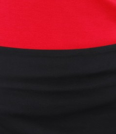 Fusta din bumbac elastic negru cu efect satinat