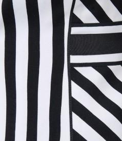 Sacou din bumbac elastic in dungi alb-negru