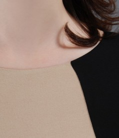 Rochie din jerse elastic cu insertie bej si accesoriu