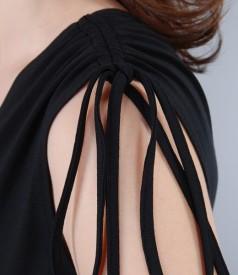 Rochie din jerse elastic negru cu pieptii suprapusi