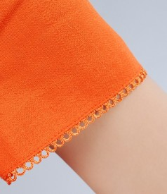 Sacou din in si vascoza portocalie cu garnitura