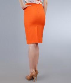 Fusta din in si vascoza portocalie cu garnitura