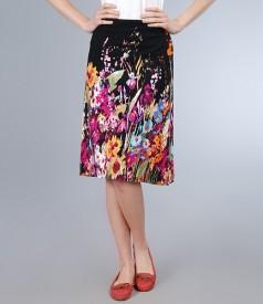 Fusta jerse negru cu imprimeu floral multicolor