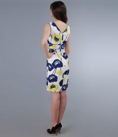 Rochie din bumbac elastic imprimat cu corseleta lata in talie
