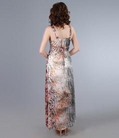 Rochie lunga din saten elastic imprimat cu accesoriu
