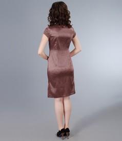 Rochie din saten elastic imprimat cu fenta