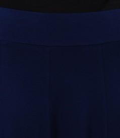 Fusta lunga in clini din jerse elastic bleumarin