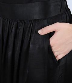 Fusta lunga din vascoza neagra satinata