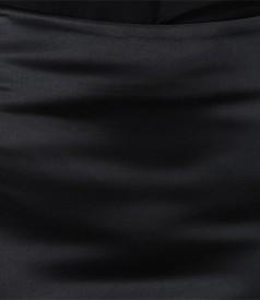 Fusta cu bumbac elastic negru satinat