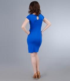 Rochie din jerse elastic cu insertie turquoise si accesoriu