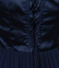 Rochie de seara lunga cu corsaj de saten si voal