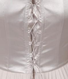 Rochie de seara lunga cu corsaj de saten si voal cu efect sidefat