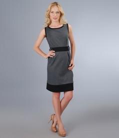 Rochie din jerse elastic gri cu garnitura