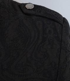 Sacou din brocart de bumbac elastic maro cu guler tunica