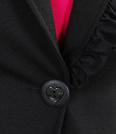 Sacou din jerse elastic gros negru cu garnitura