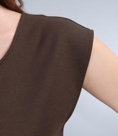 Rochie din jerse elastic maro