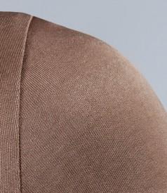 Tricou din jerse elastic satinat cu garnitura
