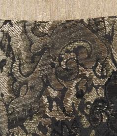 Fusta din brocart cu lana si fir de efect auriu