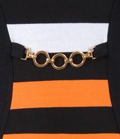 Rochie din jerse elastic cu insertie in dungi si accesoriu